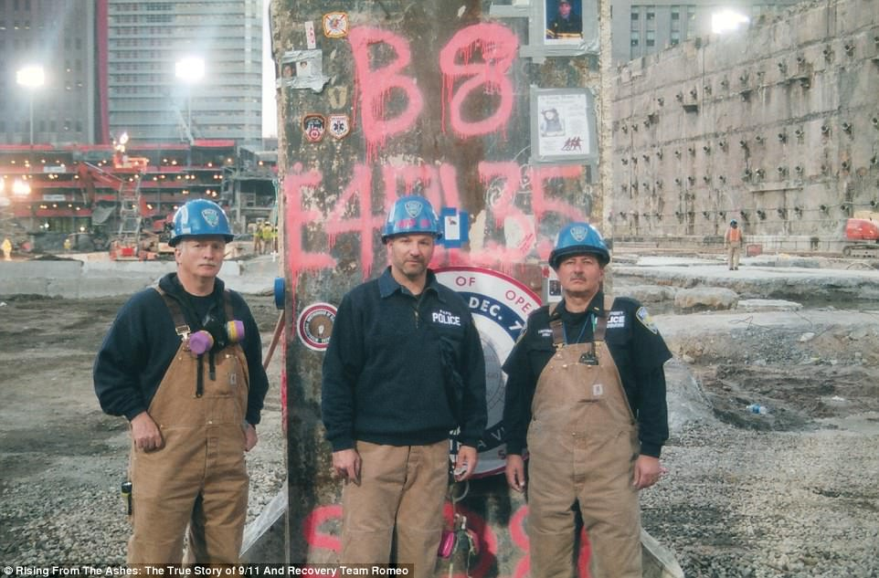 Larry Ayers, Joe Audino and Tony Zeoli (left to right) of Team Romeo stand at the site during the nine-month clean-up/
